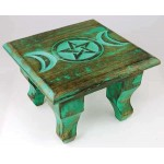 Triple Moon Antiqued Wood Altar Table