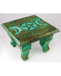 Triple Moon Antiqued Wood Altar Table All Wicca Store Magickal Supplies Wiccan Supplies, Wicca Books, Pagan Jewelry, Altar Statues