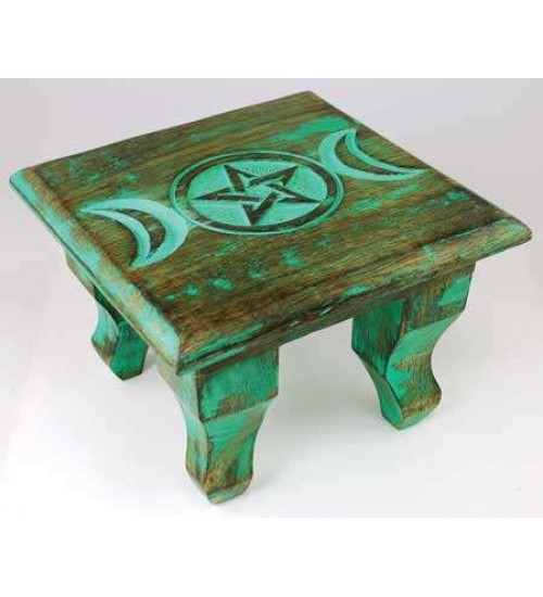 Triple Moon Antiqued Wood Altar Table at All Wicca Store Magickal Supplies, Wiccan Supplies, Wicca Books, Pagan Jewelry, Altar Statues