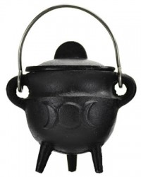 Triple Moon Cast Iron Mini Cauldron with Lid All Wicca Store Magickal Supplies Wiccan Supplies, Wicca Books, Pagan Jewelry, Altar Statues