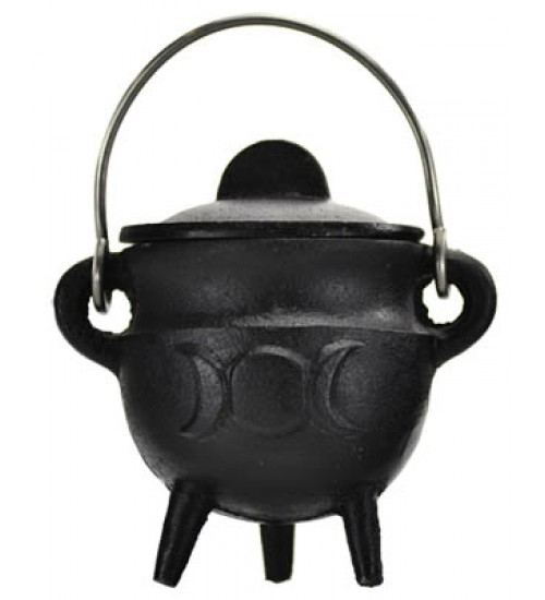 Triple Moon Cast Iron Mini Cauldron with Lid at All Wicca Store Magickal Supplies, Wiccan Supplies, Wicca Books, Pagan Jewelry, Altar Statues