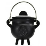 Triquetra Cast Iron Mini Cauldron with Lid