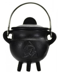 Triquetra Cast Iron Mini Cauldron with Lid All Wicca Store Magickal Supplies Wiccan Supplies, Wicca Books, Pagan Jewelry, Altar Statues