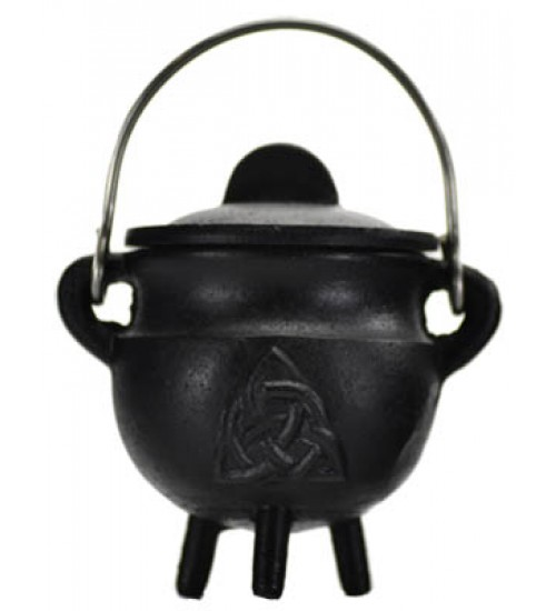 Triquetra Cast Iron Mini Cauldron with Lid at All Wicca Store Magickal Supplies, Wiccan Supplies, Wicca Books, Pagan Jewelry, Altar Statues